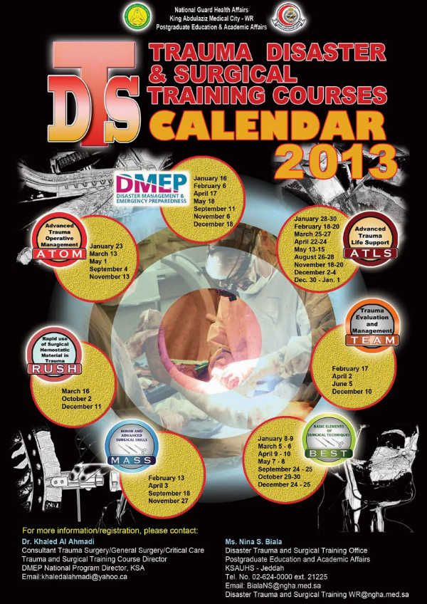 Trauma Disaster & Surgical Training Courses Calendar 2013