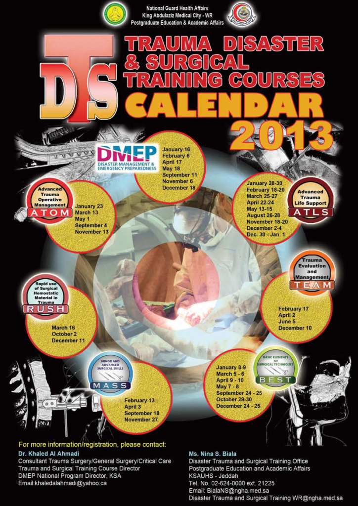 Truma & Surgical Training courses Calender 2013